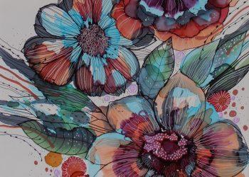 Kompozícia s modrými kvetmi - Kombin. technika