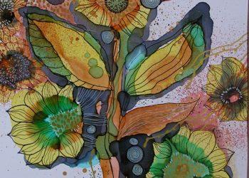 Kompozícia so žltými kvetmi- Kombin. technika