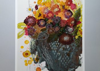 Kvety v starej váze - Kombin. technika