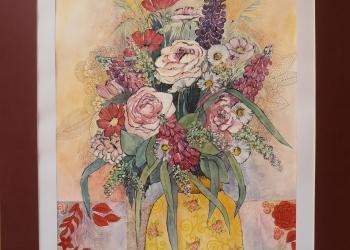 Zátišie s kvietkovanou vázou - Kombin. technika