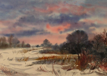 Januárový podvečer na Dobrej I. akvarel