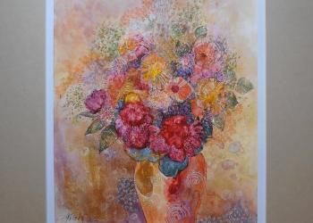 Zátišie s oranžovou vázou