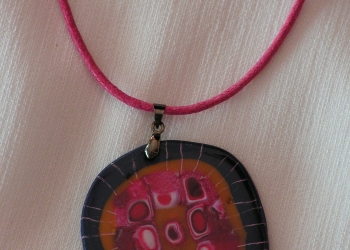 Náhrdelník - čierno ružový
